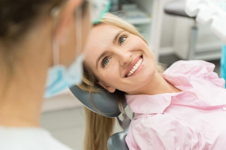 happy woman at dentist